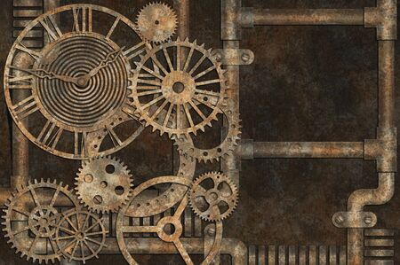 Steampunk grunge background, elements on rusty background Фото со стока