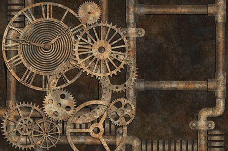 Steampunk grunge background, elements on rusty background Stock fotó