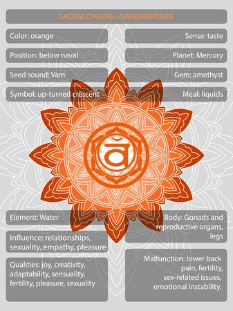 Chakras symbols with description of meanings infographic vector illustration Иллюстрация