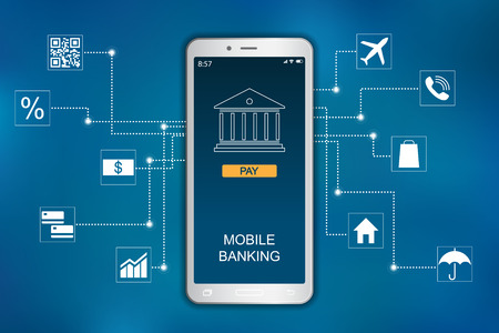 Mobile banking concept. Flat icon design infographic Иллюстрация