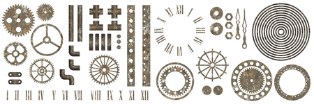 Big set of steampunk gear collection with rust texture vector illustration Illustration