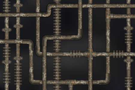 Dark and rusty pipes on the wall abstract industrial steampunk background vector illustration