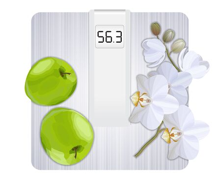 Weight loss concept, white floor scale, green apples and white orchid top view