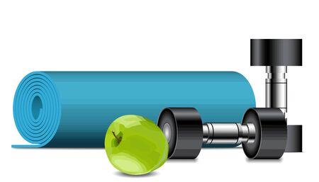 Fitness equipment. Apple, dumbbells and fitness mat, sport concept