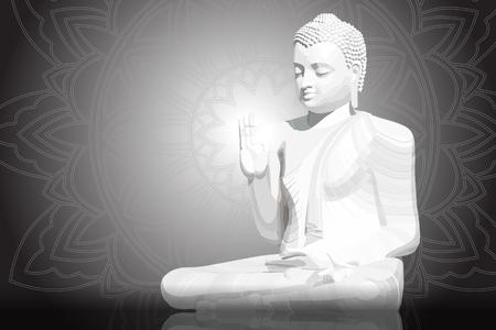 Meditating white Buddha posture on black mandala background
