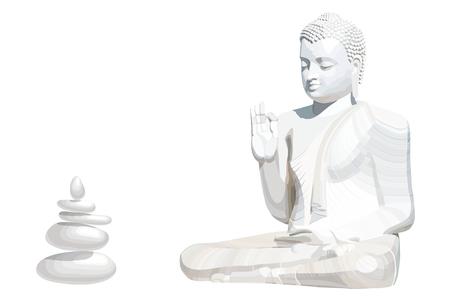 Meditating white Buddha posture with stones on white background