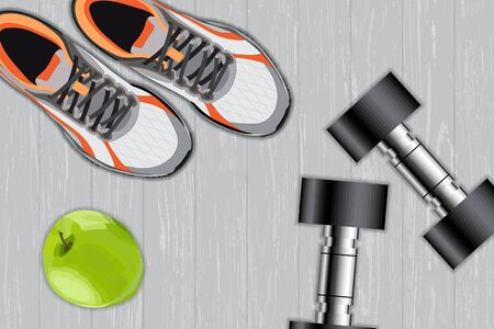 Fitness equipment. Apple, dumbbells and sport shoes, sport concept