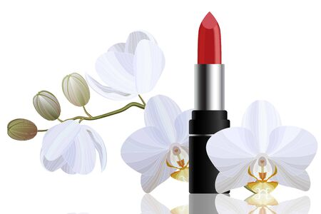 Red bright lipstick with white orchid make up concept Иллюстрация