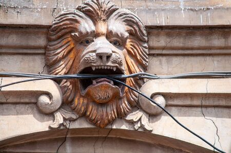 The lion head on the front of the building holding electric cable in open mouth