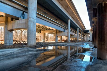 Structure construction urban design under the bridge in the ciry