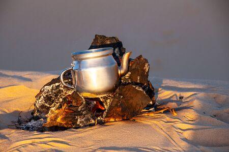 Tea making in Sahara desert in Egypt Stock fotó