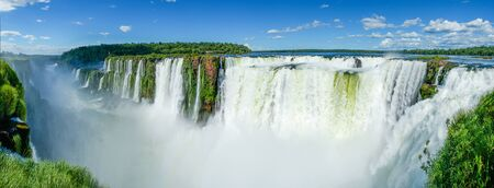 Panoramic of Iguazu Falls seen from the top of the falls, Argentina