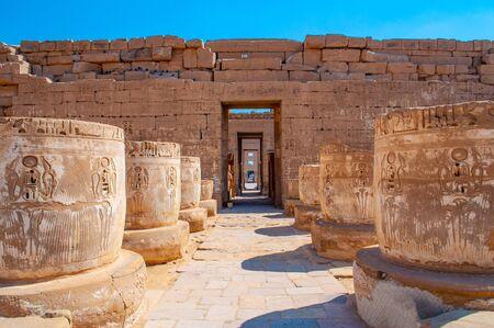 Famous Luxor temple of Medinet Habu complex in Egypt Stock fotó