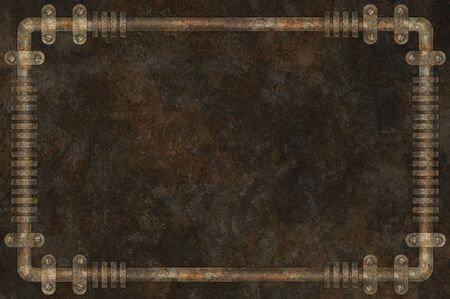 Dark and rusty pipes on the wall abstract industrial steampunk background frame