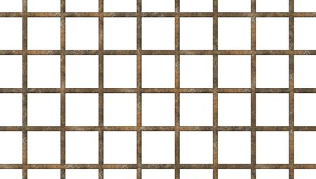 Old prison rusty bars cell lock dark background isolated 3d illustration
