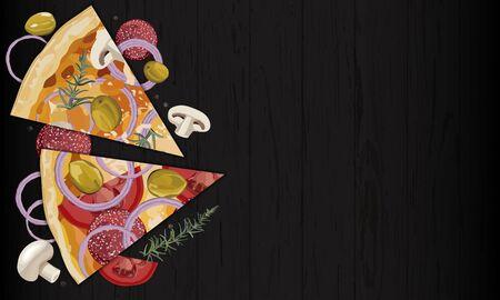 Italian original pepperoni and mushroom pizza slice on black background