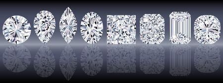 Set of sparkling water clear diamonds of various cut shape. Top view Illustration