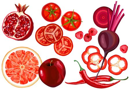 Healthy food. Collection of fresh red vegetables and fruits raw on white background, vector illustration Ilustração
