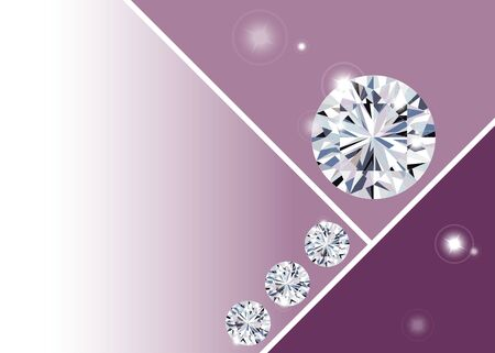 Sparkling water clear diamonds round shape on pink background vector illustration
