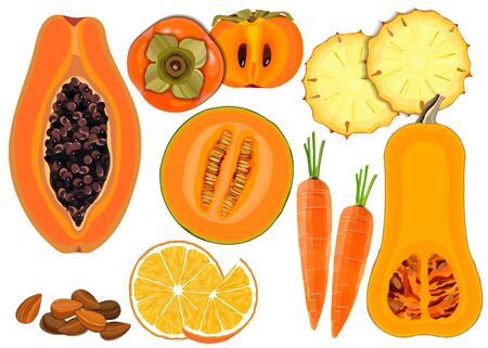 Healthy food. Collection of fresh raw orange color vegetables and fruits on white background, vector illustration