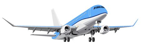 High detailed passenger airplane isolated on white background realistic vector illustration