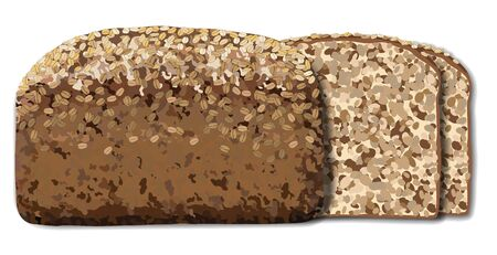 Loaf and slices of brown whole wheat bread on white background vector illustration. Organic food Vektorové ilustrace