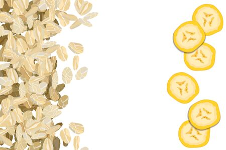 Rolled oats with bananas background vector illustration