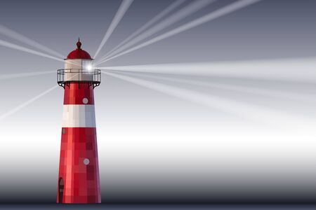 A red and white lighthouse on grey background vector illustration