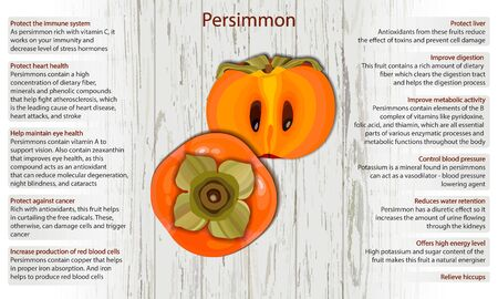 Persimmon health benefits infographics on wooden background vector illustration 向量圖像