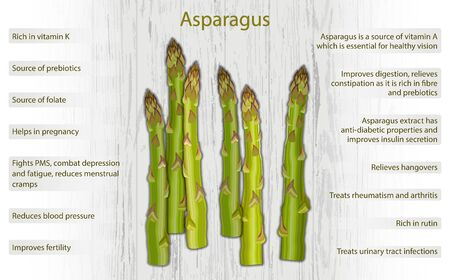 Asparagus health benefits infographics on wooden background 向量圖像