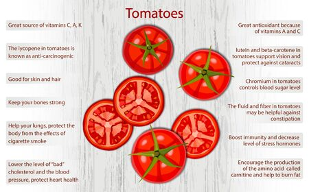 Tomato health benefits infographics on wooden background vector illustration