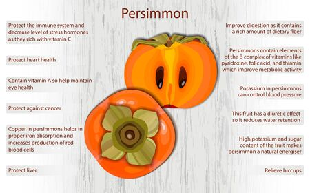 Persimmon health benefits infographics on wooden background