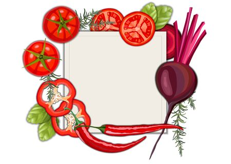 Collection of fresh red color vegetables and fruits raw on white background 向量圖像