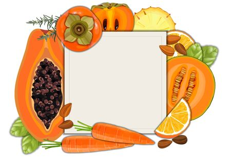 Collection of fresh red color vegetables and fruits raw on white background frame with copy space, vector illustration. Healthy organic food concept Çizim