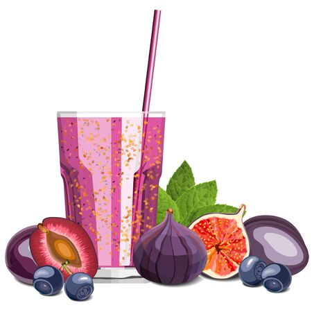 Purple color blended smoothie in a glass with ingredients vector illustration 向量圖像