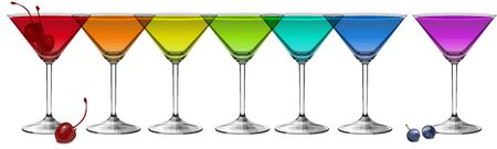 Multicolored cocktails on white background panoramic vector illustration