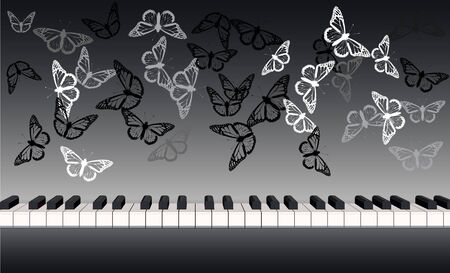 Piano keyboard banner panoramic front view with butterflies 版權商用圖片