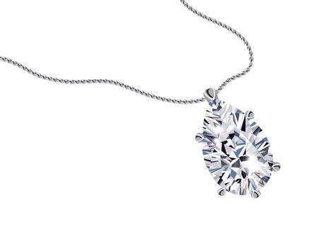Diamond pendant necklace on white background vector