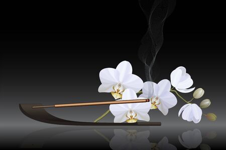Incense stick with white orchid on black background vector
