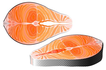 Salmon raw steak red fish top and perspective view vector