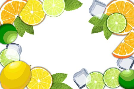 Orange, lemon and lime slice with ice cubes and mint leaves frame. Vector illustration