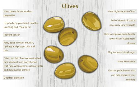 Olives health benefits infographics on wooden background vector illustration 向量圖像