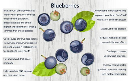 Blueberry health benefits infographics on wooden background vector illustration