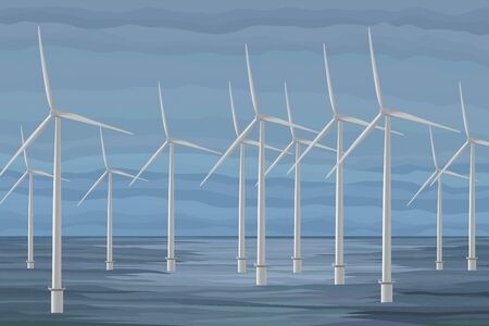 White wind turbine generating electricity in the sea