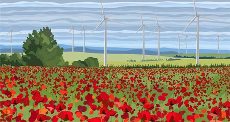 White wind turbine generating electricity in the poppy field 向量圖像
