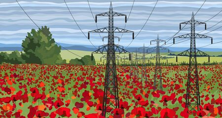 Vector landscape high voltage transmission line with pylons