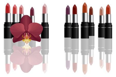 Red bright lipstick with red orchid make up concept