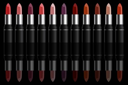 Set of colorful lipstick on black background. Make-up and fashion concept