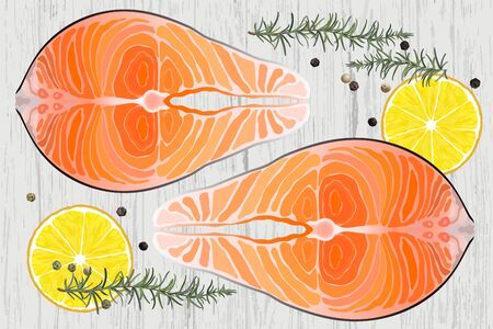 Salmon raw steak red fish top view vector illustration