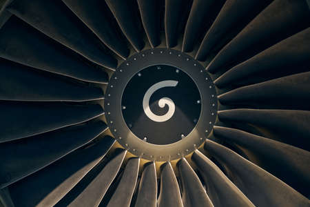 Rotating turbofan engine with a spiral mark Stock Photo